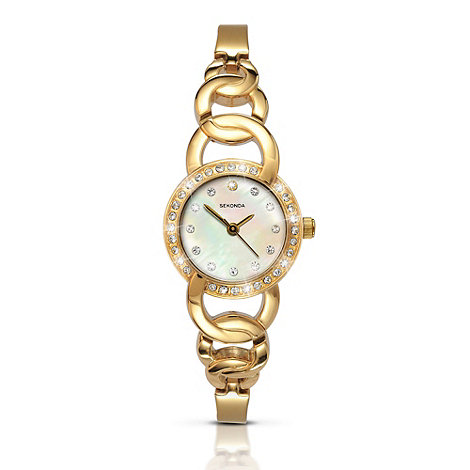 Sekonda - Ladies gold diamante bezel watch