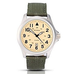 Sekonda - Men's cream dial quartz analogue khaki strap watch