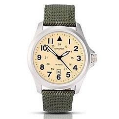 Sekonda - Men's cream dial quartz analogue khaki strap watch