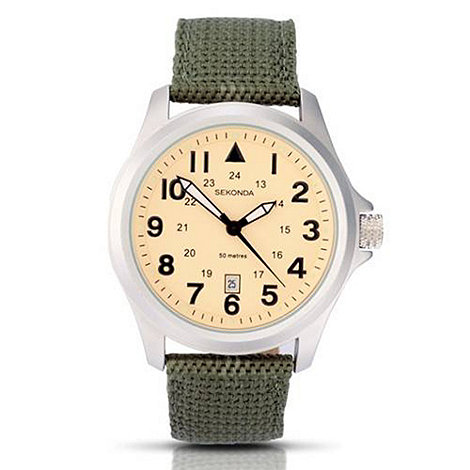 Sekonda - Men+s cream dial quartz analogue khaki strap watch