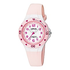 Lorus - Kids' pink polyurethane strap watch with back light