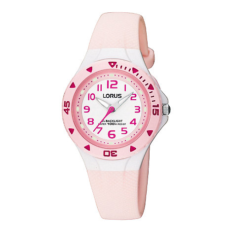 Lorus - Kids+ pink polyurethane strap watch with back light