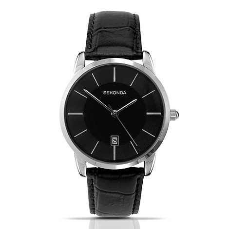Sekonda - Men+s black round dial watch