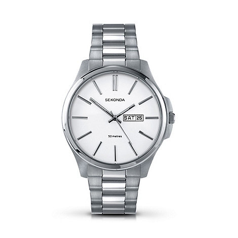 Sekonda - Men+s silver large round dial watch