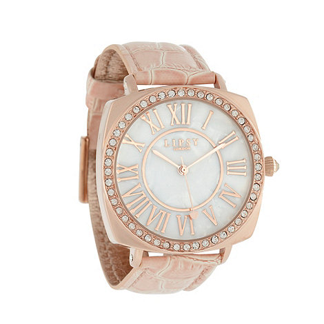 Lipsy - Ladies pale pink mother of pearl watch