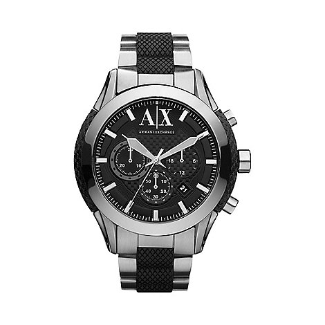 Armani Exchange - Men+s black textured link bracelet watch