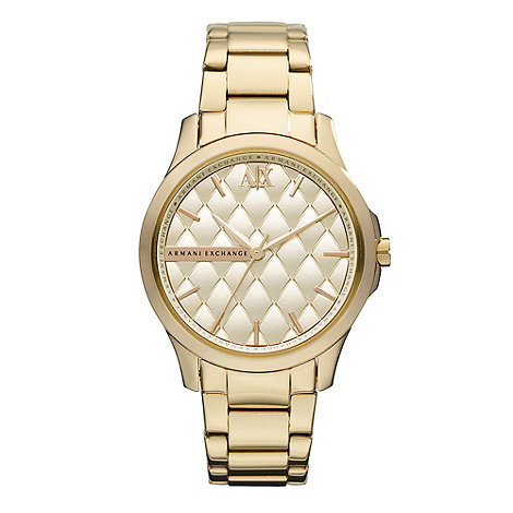 Armani Exchange - Ladies gold silver matte finish bracelet watch
