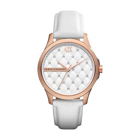 Armani Exchange - Ladies white crystal watch
