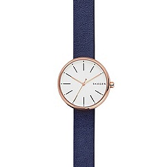 Skagen - Ladies blue quartz leather strap watch