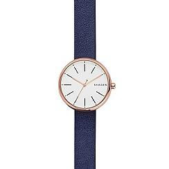 Skagen - Ladies blue quartz leather strap watch