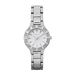 DKNY - Ladies silver baguette stone watch