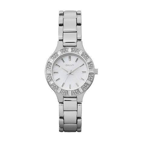 DKNY - Ladies silver baguette stone watch