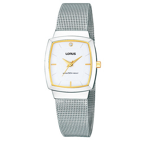 Lorus - Ladies silver two tone mesh bracelet watch