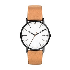 Skagen - Men's brown quartz leather strap watch