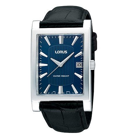 Lorus - Men+s black mock croc leather strap watch