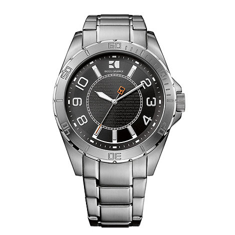 Boss Orange - Men+s silver contrasting analogue dial bracelet watch