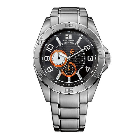 Boss Orange - Men+s silver contrasting chronograph dial bracelet watch