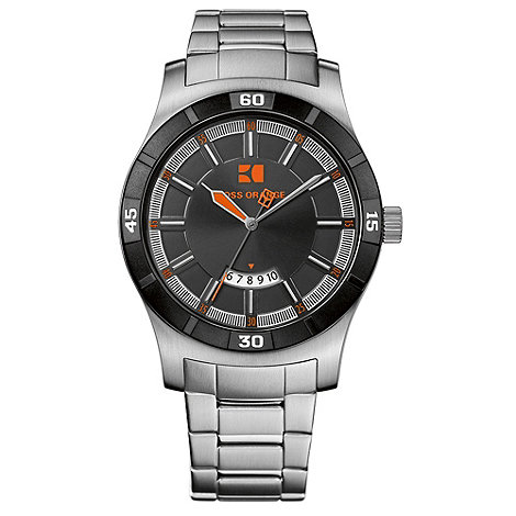 Boss Orange - Men+s grey grooved analogue dial bracelet watch