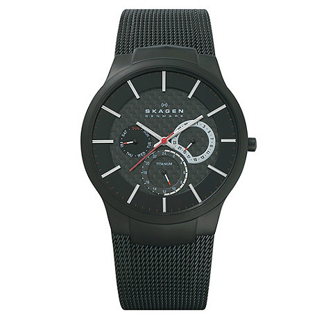 Skagen - Men+s black multi-dial watch