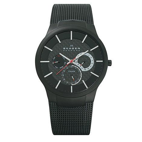Skagen - Men+s black multi-dial watch