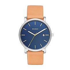 Skagen - Men's brown quartz leather strap watch