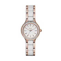 DKNY - Ladies white and rose gold tone ceramic chambers fashion watch