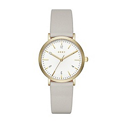 DKNY - Ladies Minetta grey leather strap watch