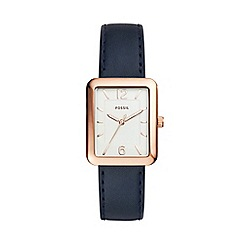 Fossil - Blue ladies atwater three-hand navy leather watch