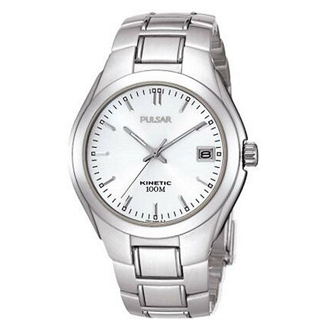 Pulsar - Men+s silver kinetic watch