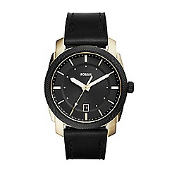 Fossil - Black men's machine three-hand date black leather watch