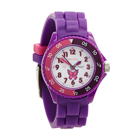 Tikkers - Kids+ purple time teacher butterfly watch