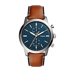 Fossil - Brown men's townsman chronograph brown leather watch
