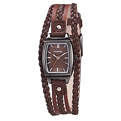Kahuna - Ladies brown plaited multi strap watch