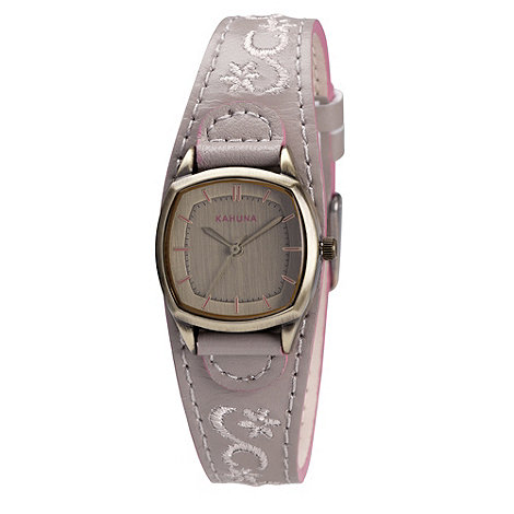 Kahuna - Ladies taupe embroidered leather cuff strap watch
