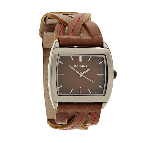 Kahuna - Ladies brown plaited leather strap watch