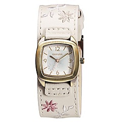 Kahuna - Ladies cream embroidered leather cuff strap watch