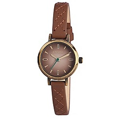 Kahuna - Ladies brown top stitched slim leather strap watch