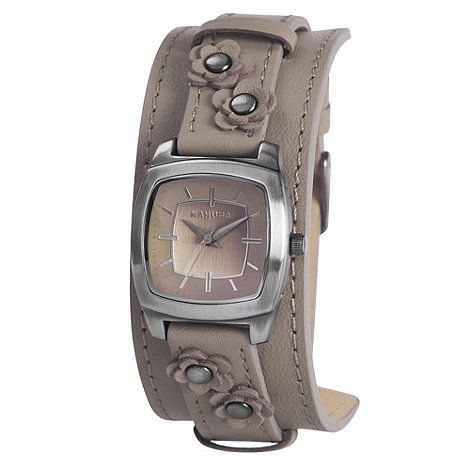 Kahuna - Ladies taupe floral leather cuff strap