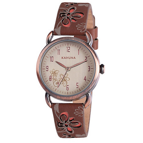 Kahuna - Ladies brown cut through floral leather strap watch