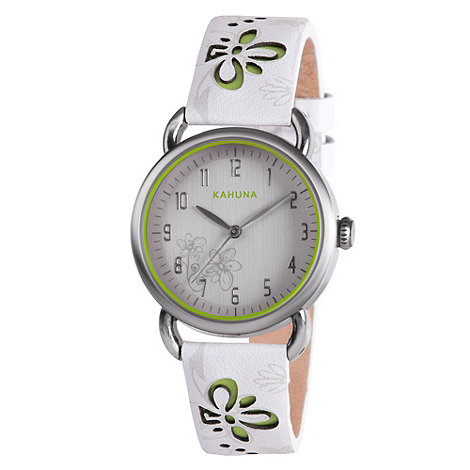 Kahuna - Ladies white cut through floral leather strap watch