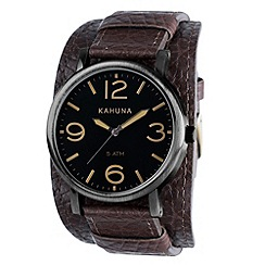 Kahuna - Men's dark brown oversized dial leather cuff strap