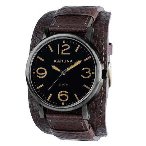 Kahuna - Men+s dark brown oversized dial leather cuff strap