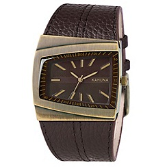 Kahuna - Men's brown diagonal dial leather strap watch