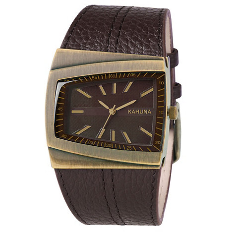 Kahuna - Men+s brown diagonal dial leather strap watch