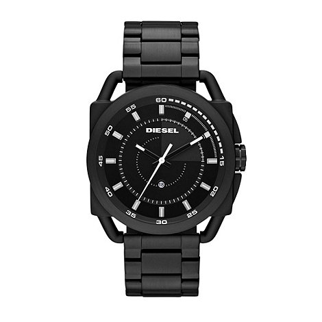 Diesel - Unisex black cut out lugs bracelet watch
