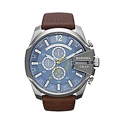 Diesel - Men's 'Mega chief' blue dial & brown leather strap watch dz4281