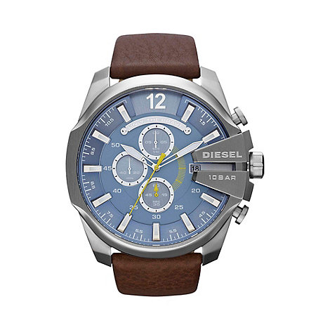 Diesel - Men+s +Mega chief+ blue dial & brown leather strap watch dz4281