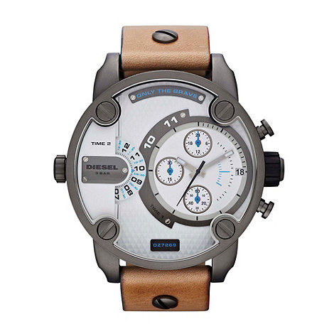 Diesel - Unisex tan oversized chronograph dial watch