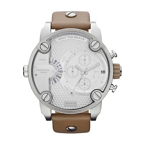 Diesel - Unisex beige oversized chronograph dial watch