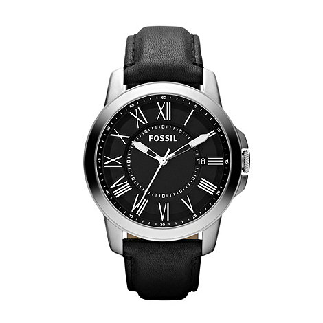Fossil - Men+s black roman analogue dial leather strap watch
